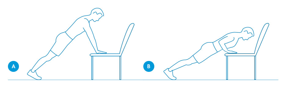 Push-ups with hands on desk