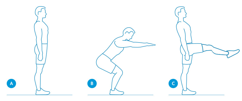 Squat and kick